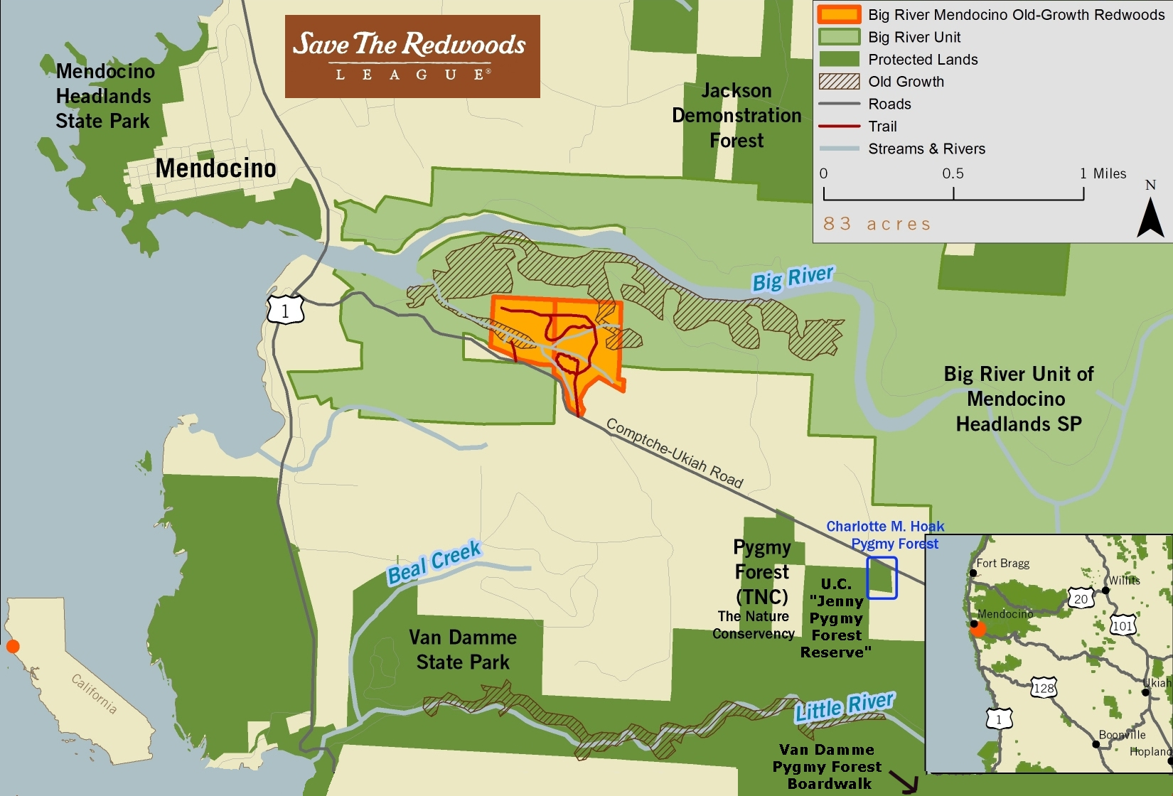Save The Redwoods League Map of Big River Headlands
